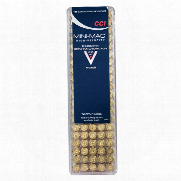 Cci Rimfire, .22lr Mini Magnum, Copper Plated Round Nose, 40 Grain, 100 Rounds