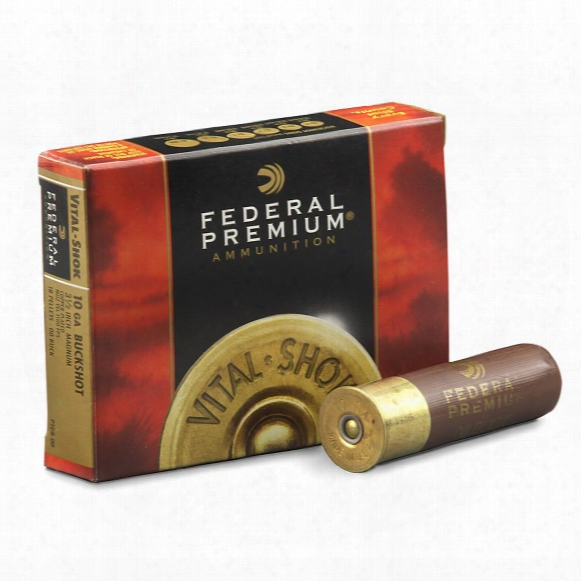 "Federal Premium, 10 Gauge, 3 1/2"" Shell, 18 Pellets, 00 Buck Buckshot, 5 Rounds"