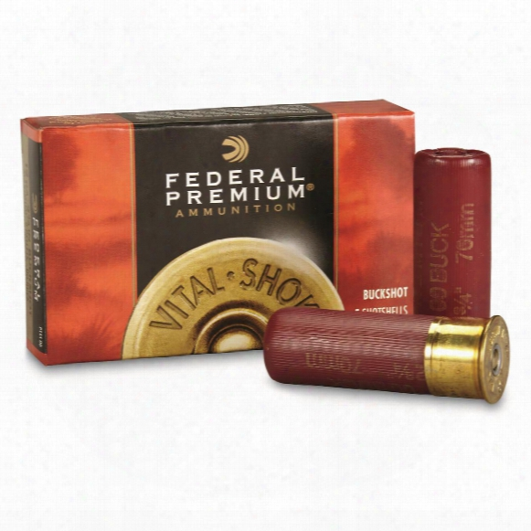 "Federal Premium, 12 Gauge, 2 3/4"" Shell, 00 Buck Buckshot, 9 Pellets, 5 Rounds"