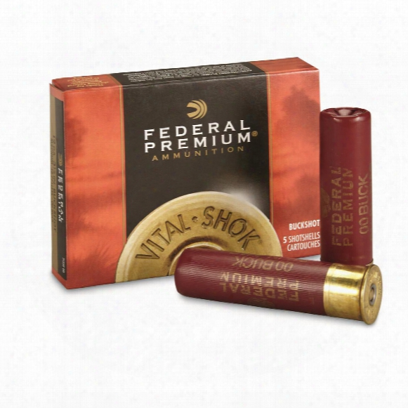 "Federal Premium, 12 Gauge, 3 1/2"" 18 Pellets, 00 Buck Buckshot, 5 Rounds"