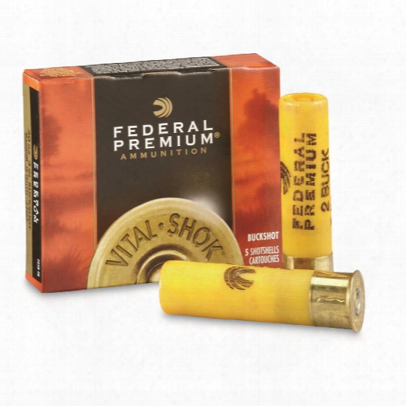 "Federal Premium, 20 Gauge, 3"" 18 Pellets 2 Buck Buckshot, 5 Rounds"