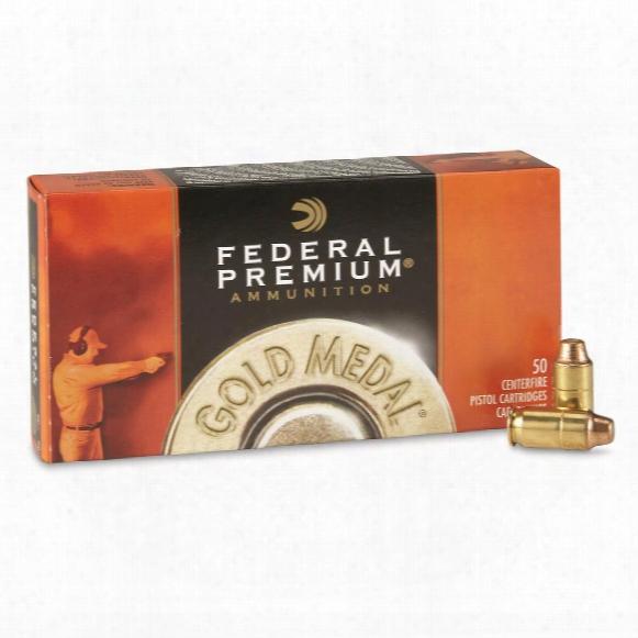 Federal Premium Gold M Edal, .45 Auto, Fmj, Semi Wadcutter Match, 185 Grain, 50 Rounds