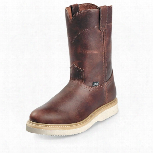 "Men's Justin® 10"" Pull-on Roper Toe Work Boots, Tan"