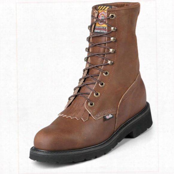 """Men's Justin® 8"""" Lace-r® Wide Toe Work Boots, Bark"""