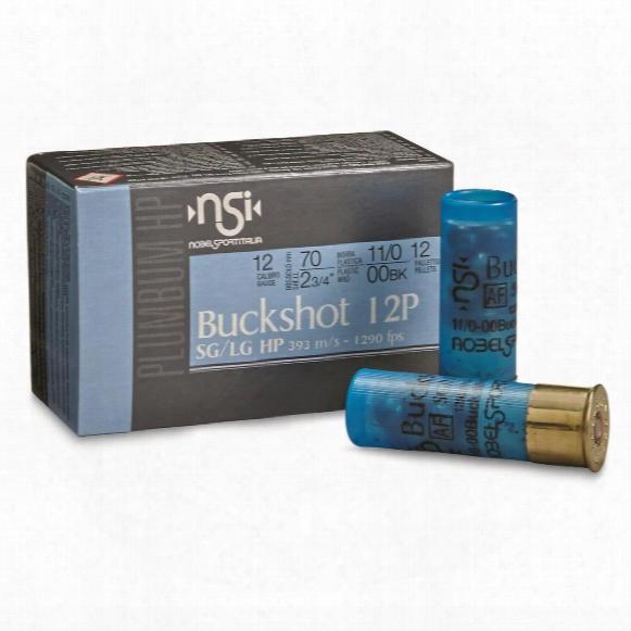 """Nobel Sport Buckshot, 2 3/4"""" 12 Gauge, 00 Buckshot, 12 Pellets, 10 Rounds"""