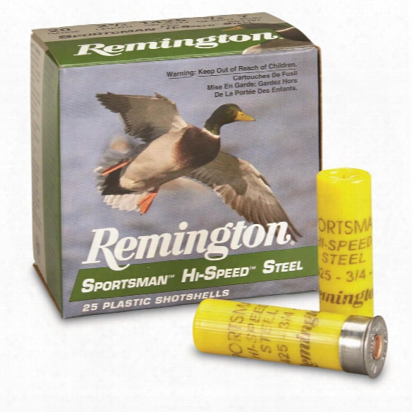 "Remington, 20 Gauge, Sportsman Hi-speed Steel, 2 3/4"" 3/4 Ozs. #7, 25 Rounds"