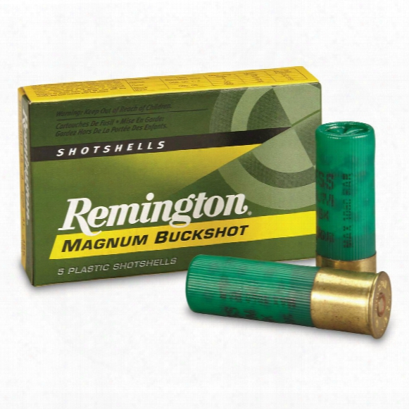 "Remington, 3"" Magnum, 12 Gauge, No. 4 Buckshot, 41 Pellets, 5 Rounds"