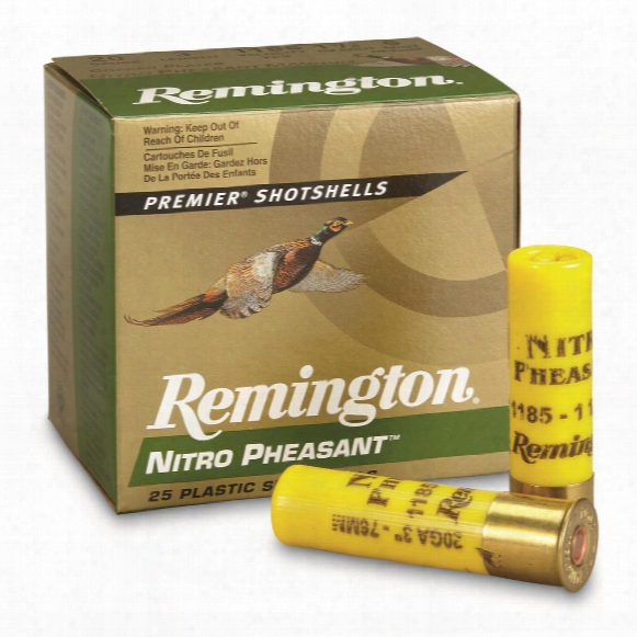 "Remington Nitro Pheasant Loads, 20 Gauge, Np20m, 3"" 1 1/4 Ozs. ,25 Rounds"