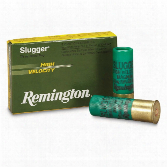 "Remington Slugger High Velocity Slugs, 12 Gauge, 3"" Shell, 7/8 Oz., 5 Rounds"