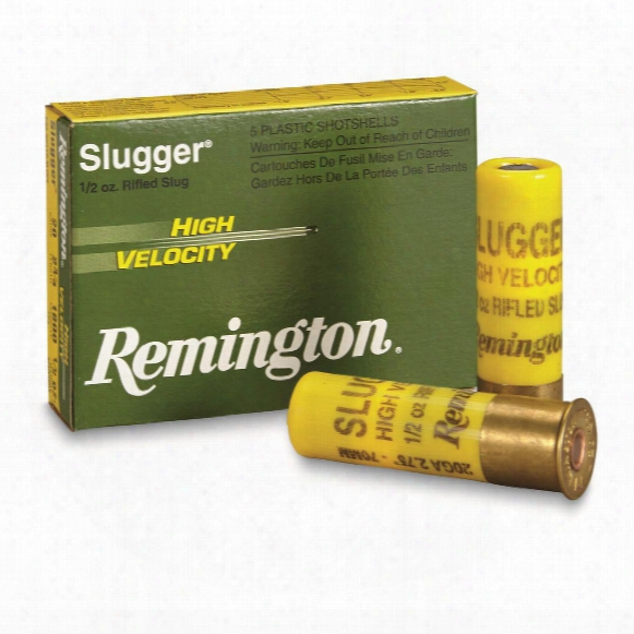 "Remington Slugger High Velocity Slugs, 20 Gauge, 2 3/4"" Shell, 1/2 Oz., 5 Rounds"