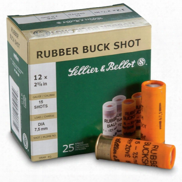 """Sellier & Bellot, 2 3/4"""", 12 Gauge, Rubber Buckshot, 100 Rounds"""
