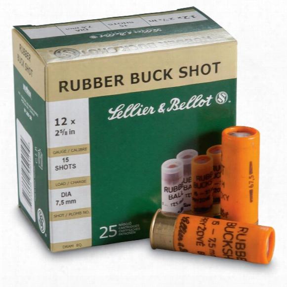 """Sellier & Bellot, 2 5/8"""", 12 Gauge, Rubber Buckshot, 25 Rounds"""