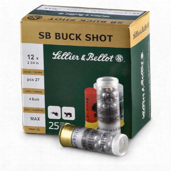"""Sellier & Bellot #4 Buckshot, 12 Gauge, 2 3/4"""" Shell, 27 Pellets, 25 Rounds"""