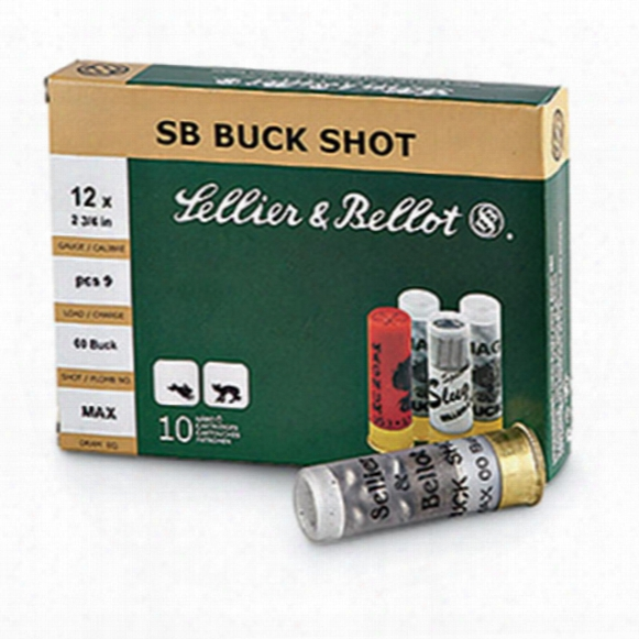 "Sellier & Bellot Buckshot, 2 3/4"", 12 Gauge, 00 Buckshot, 12 Pellets, 100 Rounds"