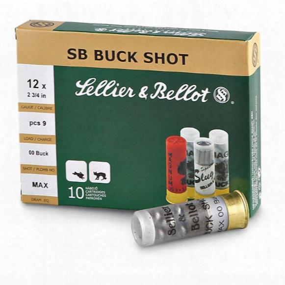 """Sellier & Bellot Buckshot, 2 3/4"""" 12 Gauge, 00 Buckshot, 9 Pellets, 10 Rounds"""