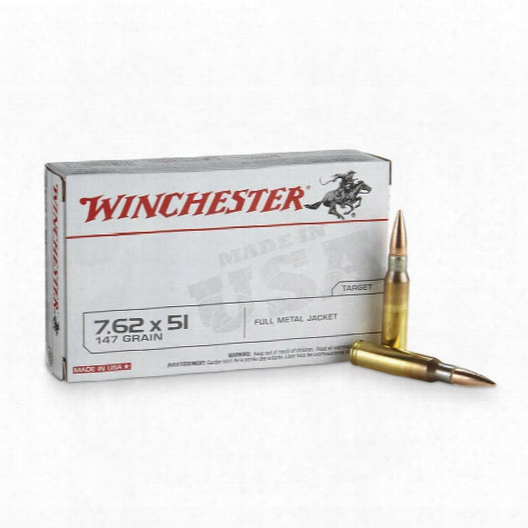 Winchester, .308 (7.62x51mm), 147 Grain, Fmj, 20 Rounds