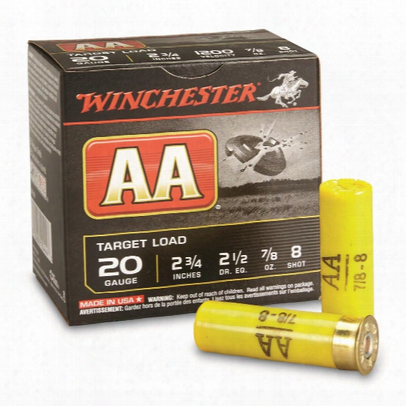 "Winchester, #8 Aa Shotshells, 20 Gauge, 2 3/4""shell, 7/8 Oz., 25 Rounds"