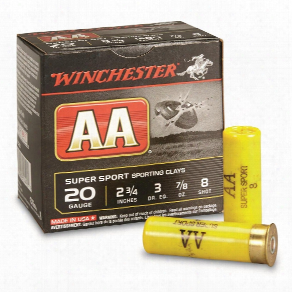 "Winhester, Aa Supersport Sporting Clays Shotshells, 20 Gauge, 2 3/4"" Shell, 7/8 Oz., 25 Rounds"