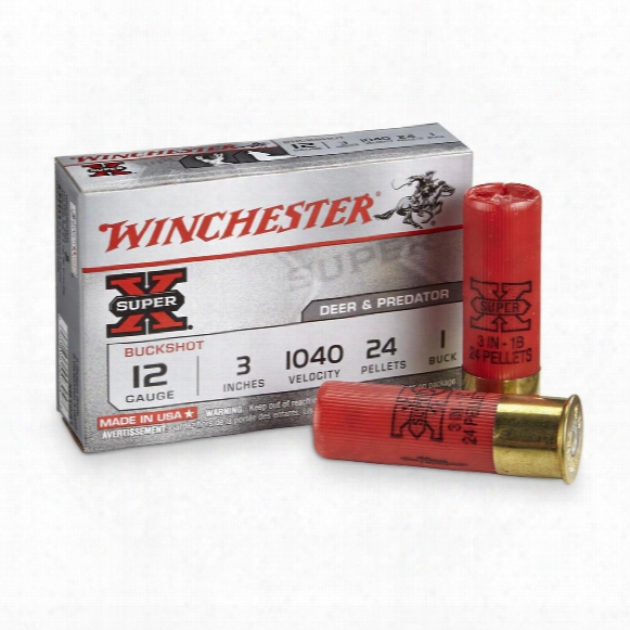 """Winchester Super-x Buckshot, 12 Gauge, 3"""" Shell, 1 Buck, 24 Pellets, 5 Rounds"""