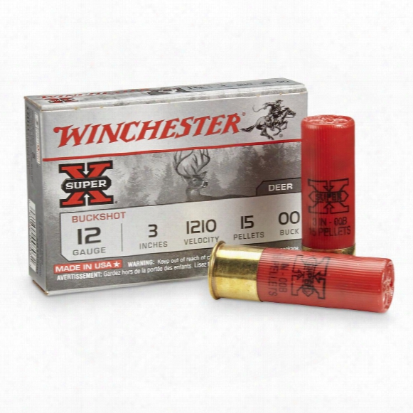 "Winchester Super-x Buckshot With Buffered Shot, 12 Gauge, 3"" Shell, 00 Buck, 15 Pellets, 5 Rounds"