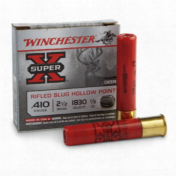 "Winchester Super-x Rifled Slugs, .410 Gauge, 2 1/2"", 1/5 Oz., 5 Rounds"