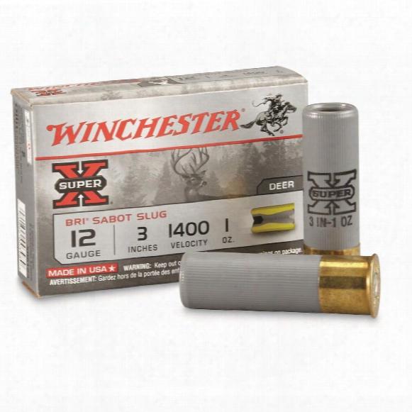 "Winchester Super-x Slugs, 12 Gauge, Xrs123 Sabot, 3"" 1 Ozs., 5 Rounds"