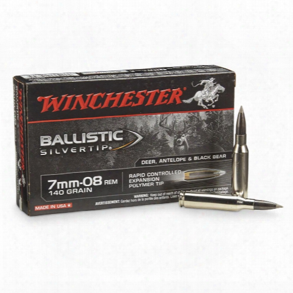 Winchester Supreme Ballistic Silvertip, 7mm-08 Remington, Bst, 140 Grain, 20 Rounds