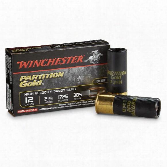 """Winchester Supreme Partition Gold 12 Gauge 2 3/4"""" 385 Grain Sabot Slug, 5 Rds."""