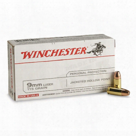 Winchester U.s.a., 9mm Luger, Jhp, 115 Grain, 50 Rounds