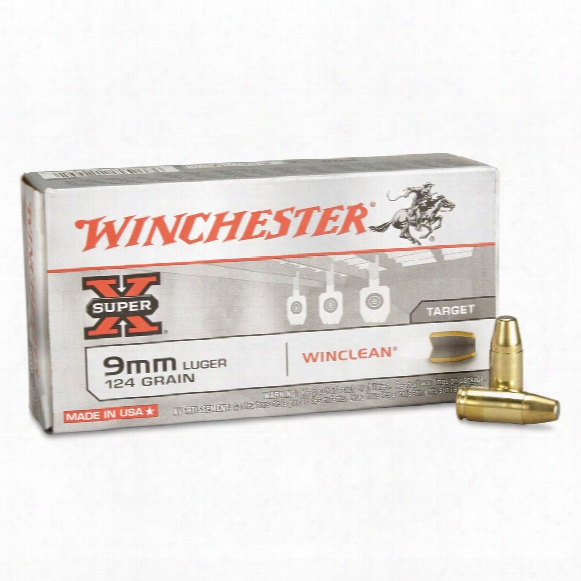 Winchester Usa Winclean, 9mm Luger, Beb, 124 Grain, 50 Rounds