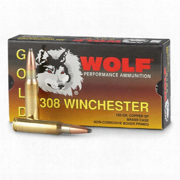 Wolf Gold, .308 Winchester, Sp, 150 Grain, 20 Rounds