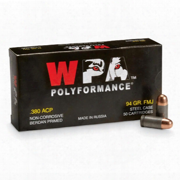 Wolf Wpa Polyformance, .380 Acp, Fmj, 94 Grain, 50 Rounds