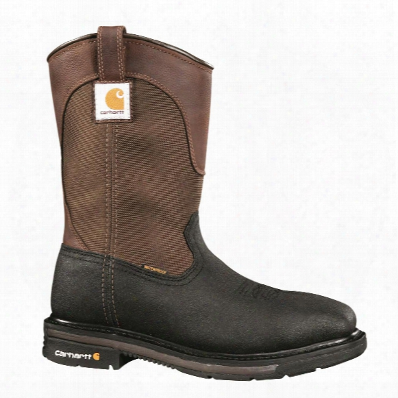 "Carhartt Men's Waterproof 11"" Steel Toe Square Toe Wellington Work Boots, Brown/black"