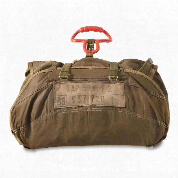 French Military Surplus Parachute Bag With Cords, Used