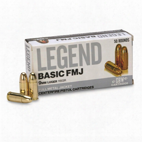 Gbw Cartridge, Legend Basic, 9mm, Fmj, 115 Grain, 50 Rounds