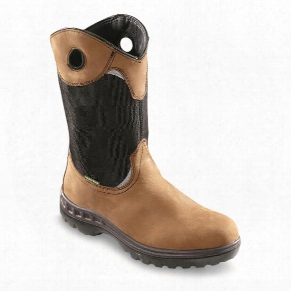 """John Deere Men's Waterproof 11"""" Steel Toe Pull On Work Boots"""