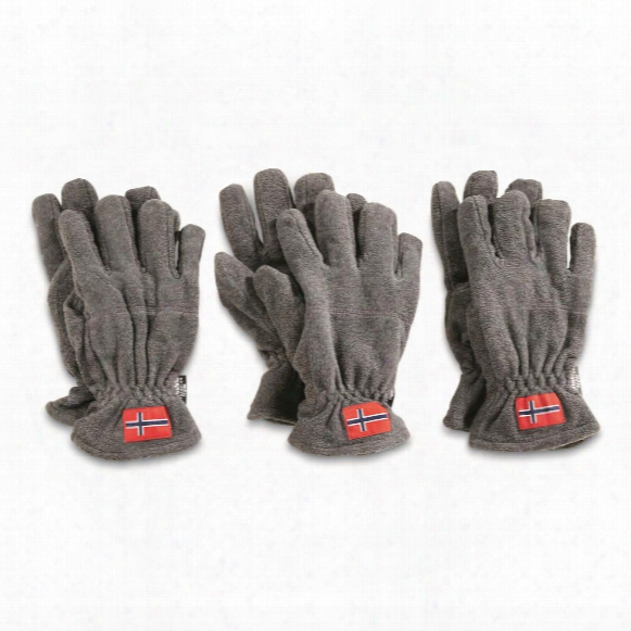 Norwegian Military Surplus Thinsulate Fleece Gloves, 3 Pack, New