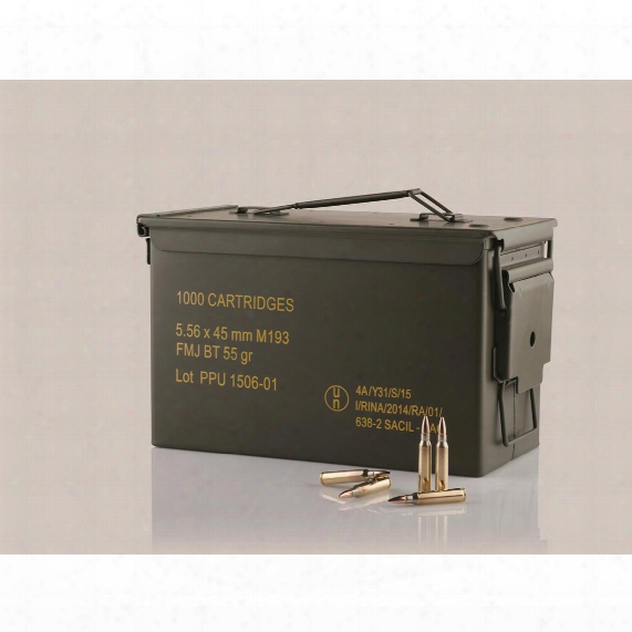 Ppu, .223/5.56, M193 Fmj Ammo With Can, 55 Grain, 1,000 Rounds