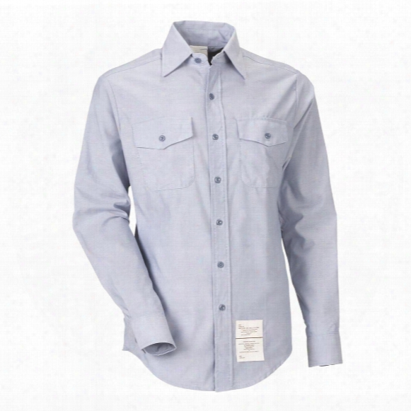 U.s. Navy Surplus Chambray Long Sleeve Shirts, Irregulars, 4 Pack, New