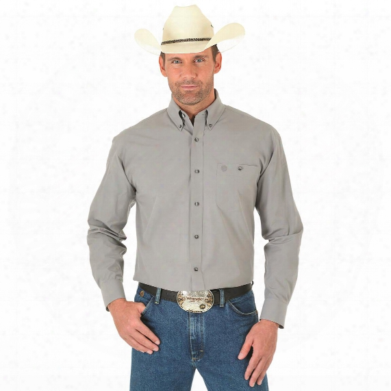 Wrangler George Strait Men's Long Sleeve Button Down Solid Shirt