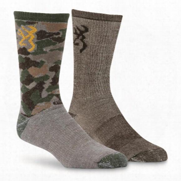 Browning Men's Everyday Camo Wool Socks, 2 Pairs
