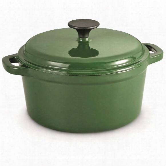 Castlecreek Enameled Cast Iron 3-liter Dutch Oven, Green