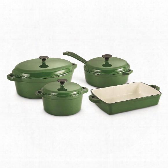 Castlecreek Enameled Cast Iron Cookware Set, 7 Piece