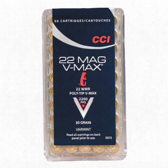 Cci, .22 Winchester Magnum, Poly-tip V-max, 30 Grain, 50 Rounds
