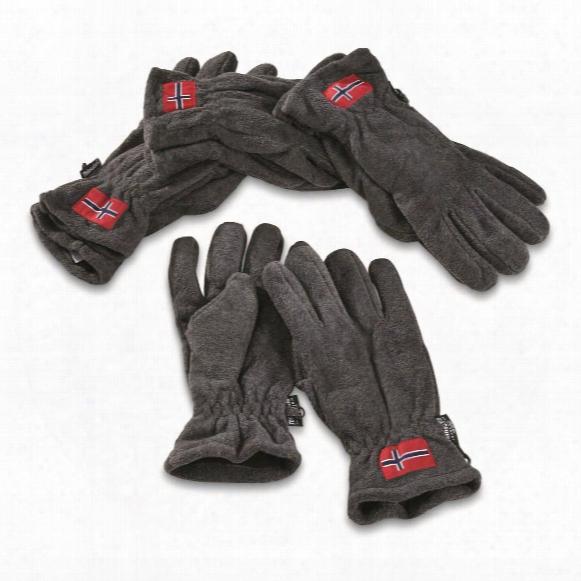 Norwegian Military Surplus Thinsulate Fleece Gloves, 4 Pack, New