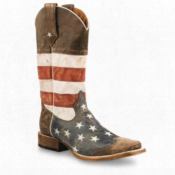 Roper Men's American Flag Square Toe Cowboy Boots