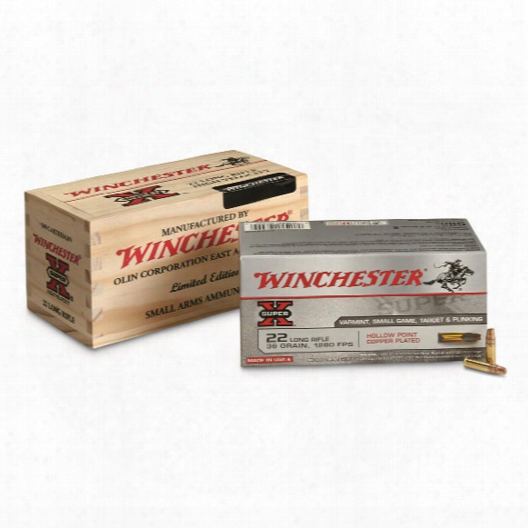 Winchester, Super-x, .22lr, Copper Plated Hollow Point, 36 Grain, 500 Rounds In Wood Box