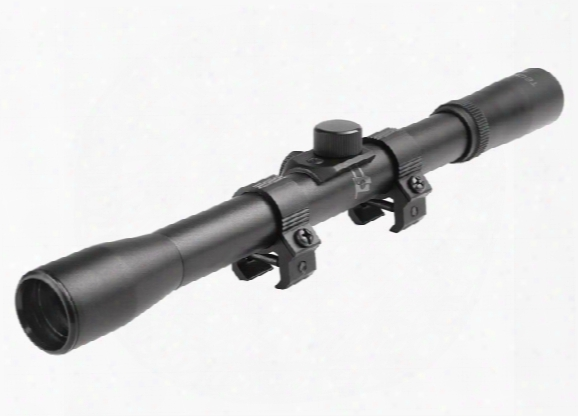 "Tech Force 4x20 Rifle Scope, Duplex Reticle, .75"" Tube, 11mm Rings"