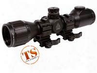 "Utg 6x32 Ao Bug Buster Cqb Compact Rifle Scope, Ez-tap, Illuminated Mil-dot Reticle, 1/4 Moa, 1"" Tube, Medium Weaver Rings"