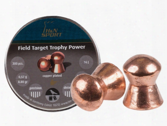 H&n Field Target Trophy Power Copper-plated, .177 Cal, 8.80 Grains, Round Nose, 300ct